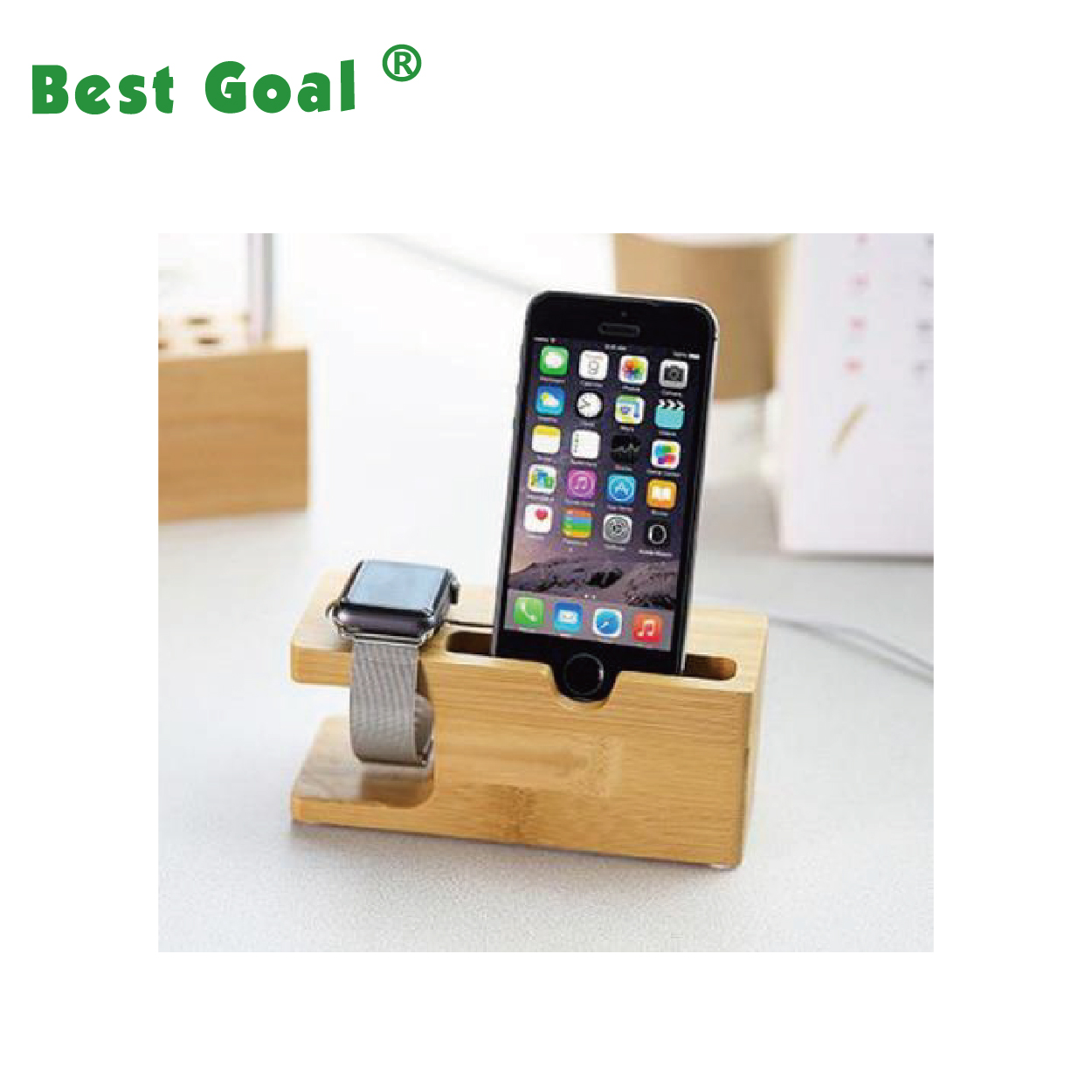 Bamboo Wooden Charging Dock Station watch cell phone stand Tablets desk organizer