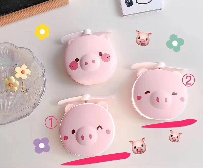 2019 new design high quality LED Cosmetic mirror <strong>fan</strong> pig shape electric <strong>fan</strong>