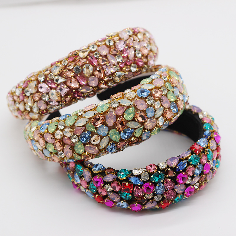 Ready to ship european luxury hair clasp for party full colored rhinestone padded <strong>headband</strong> baroque Banquet Glitter head band