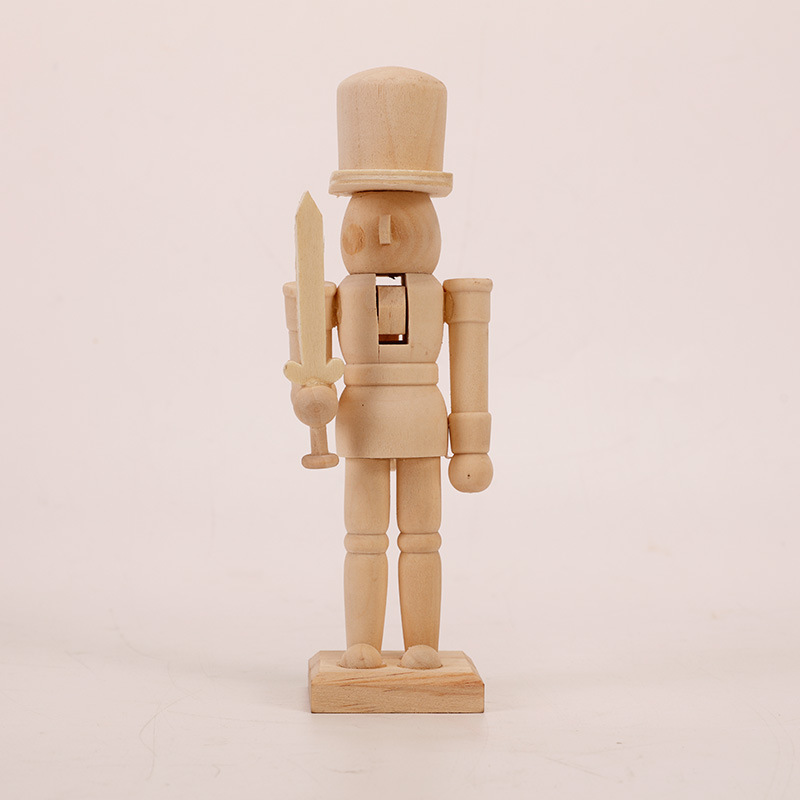 unfinished DIY wooden craft Christmas child toy painted blank wooden nutcracker