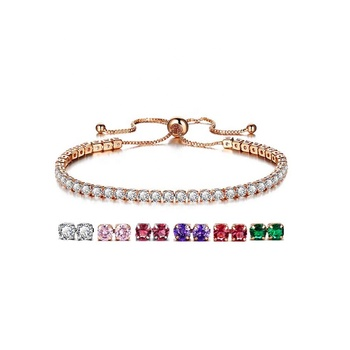 Simple Adjustable Silver Rose Gold Plated White Round Crystal Bracelet Cubic Zirconia Tennis Bracelet for Wedding Jewelry