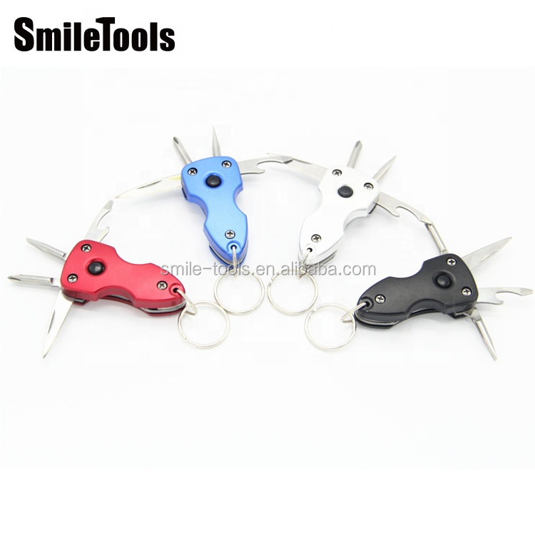 Multi-function Mmulti-color 6 in 1 Multi Tool Keyring EDC Folding Knife Keychain