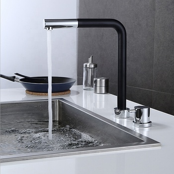 Contemporary Brass Kitchen Faucet Two Holes Deck Mounted Kitchen Mixer Pull Out Kitchen Tap