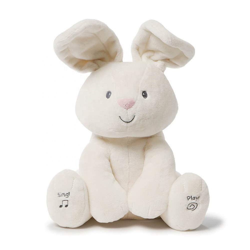 AKTE lovely hide and seek peek a boo music plush <strong>rabbit</strong> sing and play ear moving bunny