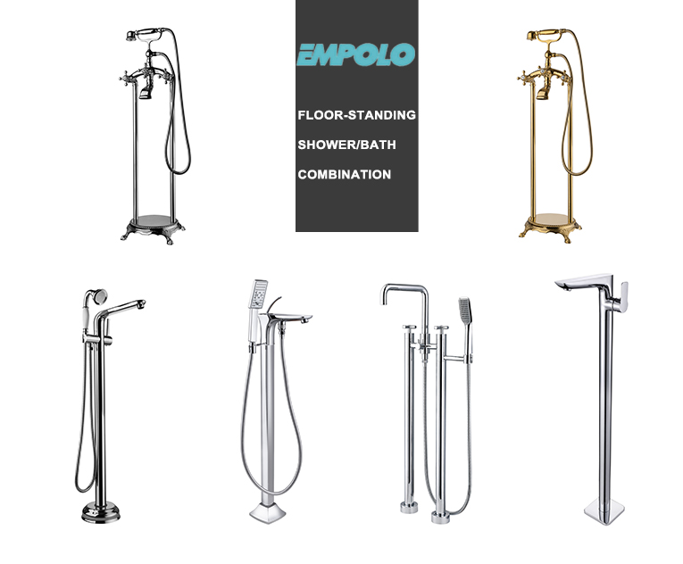 Floor Mount Standing Bathtub Freestanding Brass chrome plated Swan neck Shape Shape Mixer Tap Faucet Shower