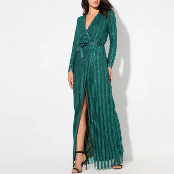 Womens Clothing Wrap Belted Sequin Maxi Dresses Women Party Evening