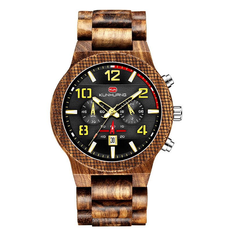 KH 2019 New Quartz Men's Wooden Watch Large Dial Multi-function Calendar Hot Sports Wristwatch <strong>1015</strong>