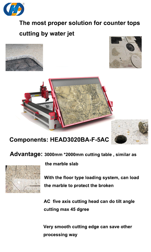 Customized model for family own business marble countertops water jet cutting