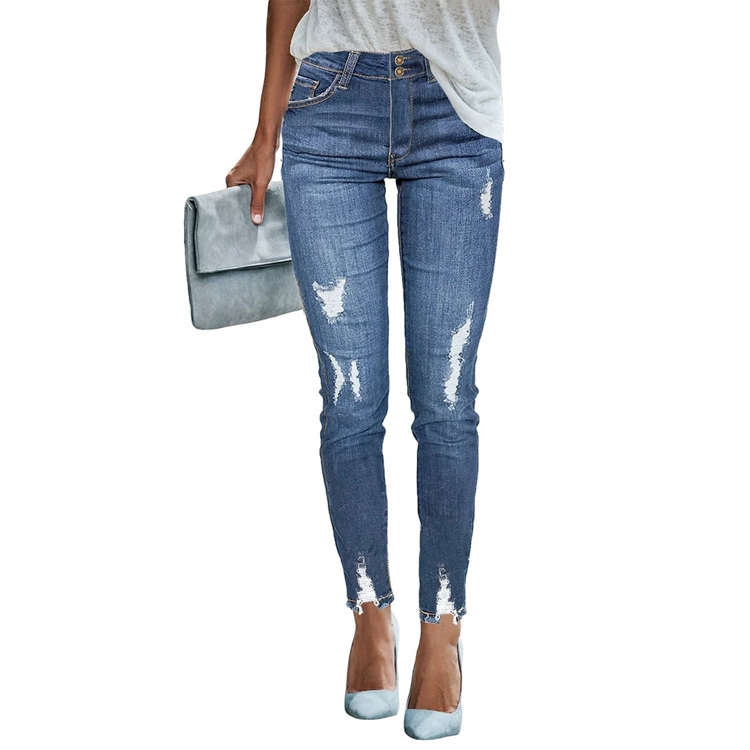 Custom 2020 New Fashion Women Boyfriend <strong>Jeans</strong> Distressed Slim Fit Ripped Pants Comfy Stretch Skinny <strong>Jeans</strong>