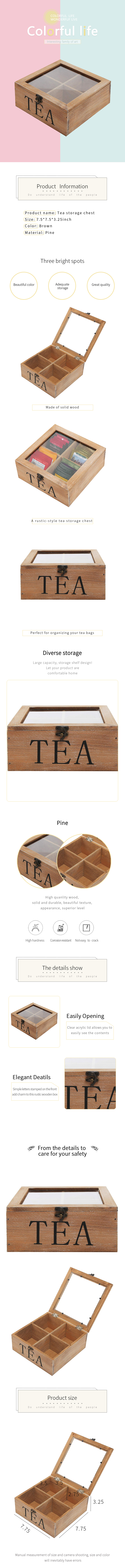 4-Compartment Multipurpose Organization Display Box Wood tea bag box with Clear Lid