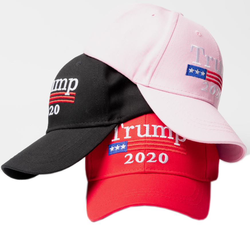 Hot wholesale 6 panel cotton embroidery campaign election black <strong>cap</strong> trump 2020 hat