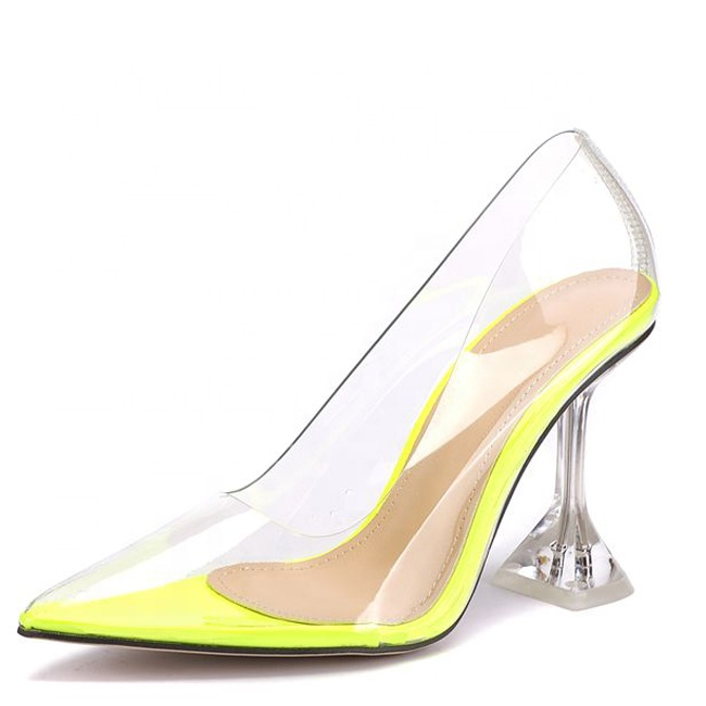 Clear Whole PVC Women Dress Shoes High Kitten <strong>Heels</strong> Pointed toe Ladies Pump Shoes Transparent Slip on Summer High <strong>Heels</strong>