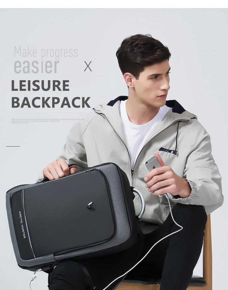 ARCTIC HUNTER Fashion Men Multipurpose Travel Waterproof Daypack Business Laptop Anti Theft Expandable USB charge Backpack
