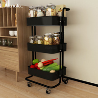 Carbon Steel Rolling Stand Rack Bathroom Organizers Shelves Cart Kitchen Storage Trolley
