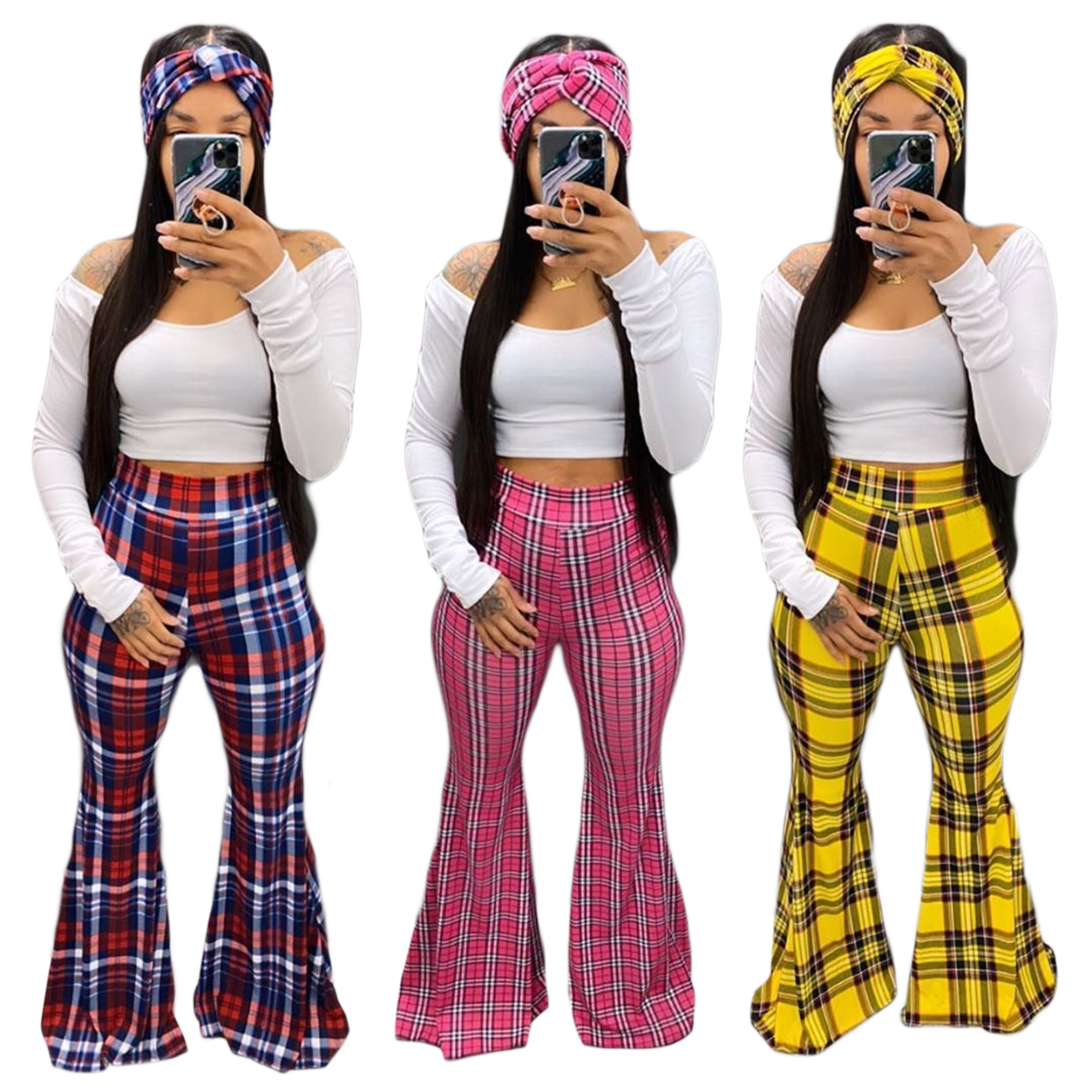 FM-YY5167 2020 drop ship white blouse and plaid wide leg pants women three piece <strong>set</strong> with headband