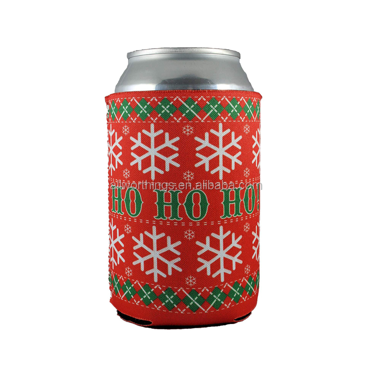 Christmas Neoprene Drink Can Beer Cooler Holder