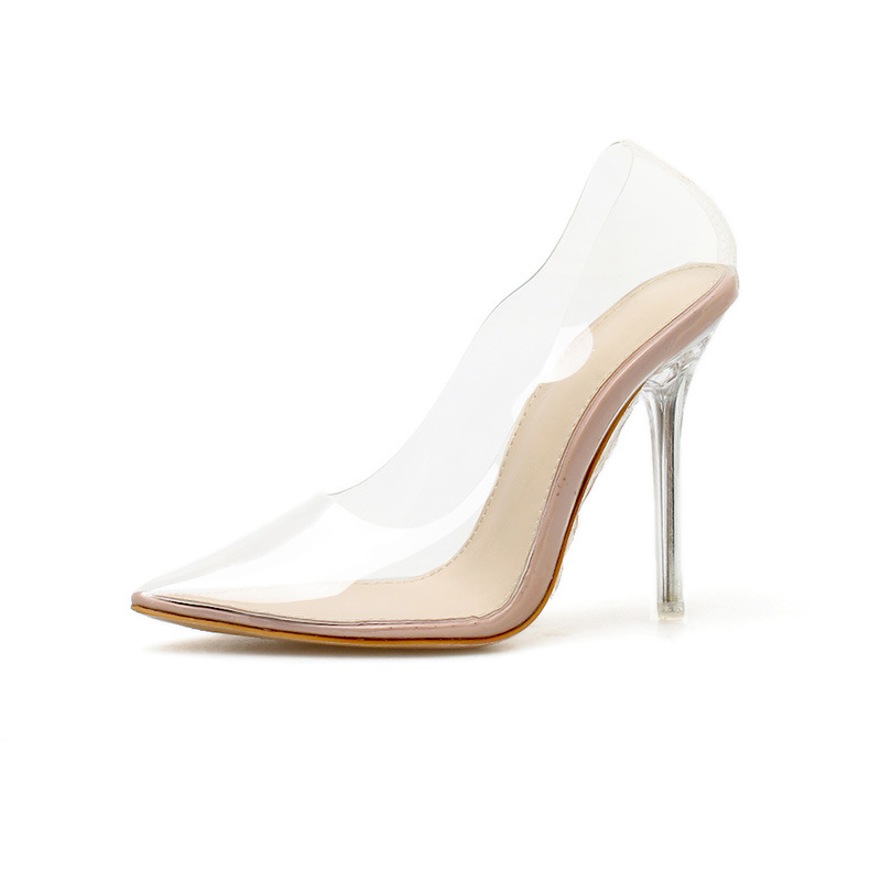 Fashion Crystal Clear Pvc Women Pumps Scarpe Con Tacco Sexy Hot Transparent High <strong>Heels</strong>