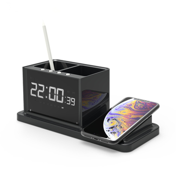 dual usb charger ABS+PC material Desktop clock wireless charger with  DC adapter