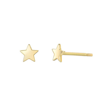 Mini Star Shaped Stud Earrings 14K Solid Gold Earring Jewelry