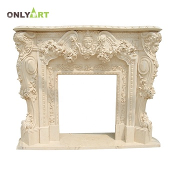 Indoor Decorative Freestanding Marble Fireplace  with flower