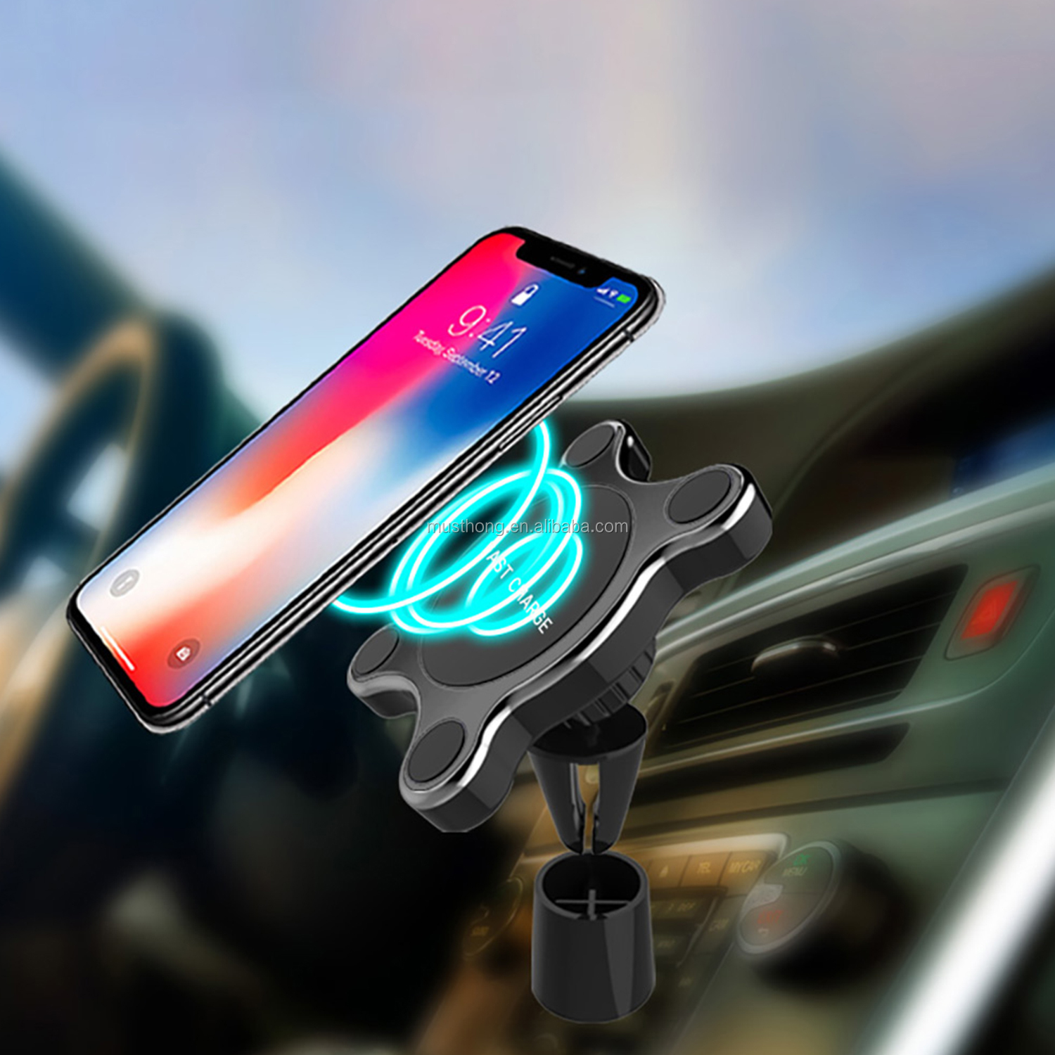 Magnetic Car Vent Phone Mount And Cell Phone Holder Stand With Qi Standard Fast Wireless Charging Function For iPhone 11 Pro Max