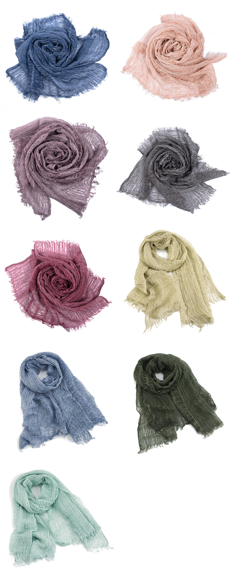 2019 Wholesale Fashion Solid Color Ladies Scarves Shawls Custom Tie Dye Linen Scarf For Women