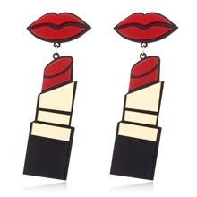 Punk acrylic lipstick statement bohemian drop <strong>earrings</strong> for women