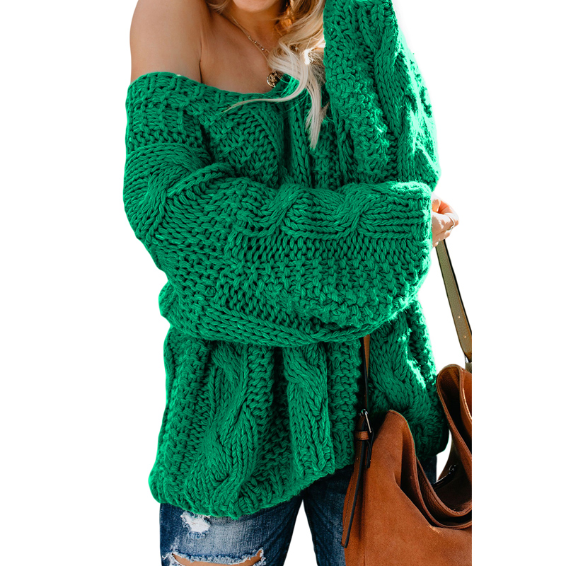 Women Casual V-Neck Braided Knit Puffy Sleeves Sweater