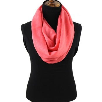 Custom Solid Pale Red Winter New Scarfs 100% Cashmere Scarves Women Infinity Scarf