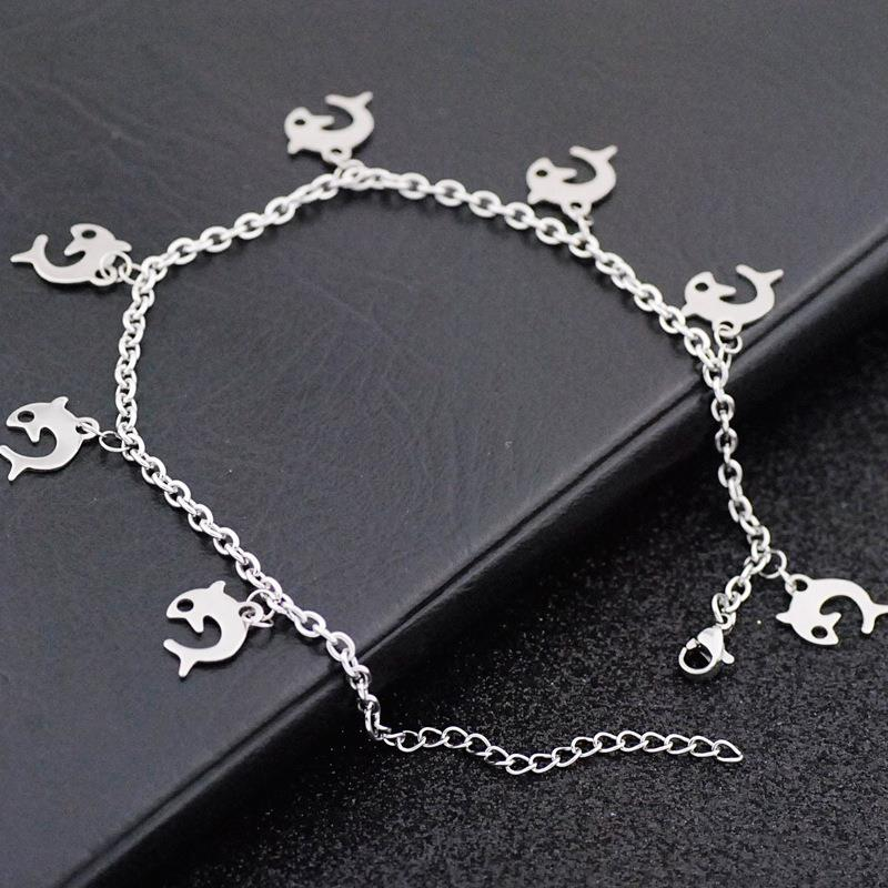 Fashion sweet cute dolphin anklet stainless steel anklet gift for girls Dylam jewelry