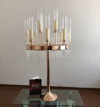 2019 New wedding centerpieces crystal gold metal candelabra