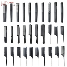 custom logo high quality black straight Hair Combs Pro Salon Hairdressing Antistatic Carbon Fiber Comb For Barber Hair Cutting