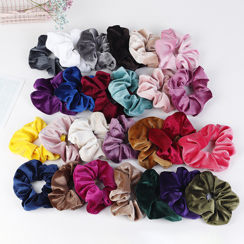 Wholesale colored velvet <strong>hair</strong> <strong>accessories</strong> popular colorful <strong>hair</strong> scrunchies for girls