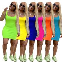 A90036 2020 women dresses summer clothes women solid color bodycon dress 2020
