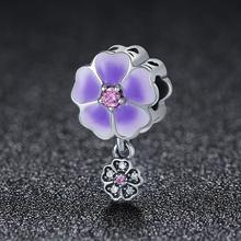 Fashion personality Daisy purple flower beads 925 sterling silver <strong>charm</strong> for bracelet and necklace