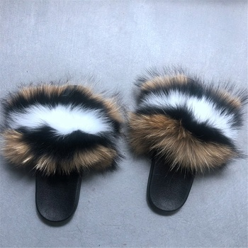 2019 Summer fox fur slides Cute Plush Fox slippers 100% real fox hair luxury fashion beach sandals ladies big fur slides