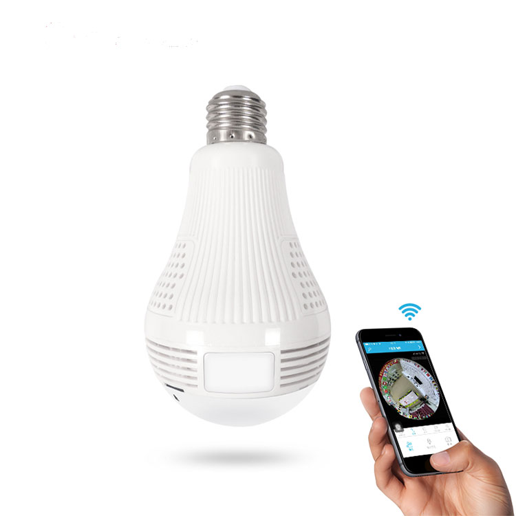 A-ZONE Wifi Light Bulb CCTV <strong>Security</strong> HD 1080P 3MP 360 Degree Monitor Remote Viewing Fisheye Panoramic Camera