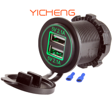 12V 2.1A 4.2A Power Outlet Dual Socket Car USB Port for Marine Bus Mobile Phone Charging