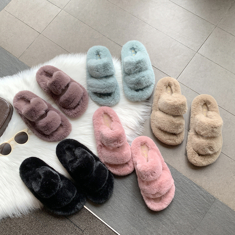 New Arrival Factory Winter Wholesale non-slip Fluffy Furry fur slides sheepskin Faux Fur winter Womens Ladies Home <strong>Slippers</strong>