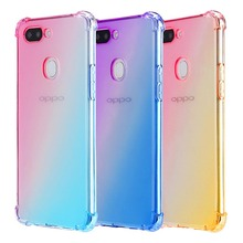 Shockproof Four Corner Rainbow Gradient TPU Case With Lanyard Hole Case For OPPO F9 F11 A7