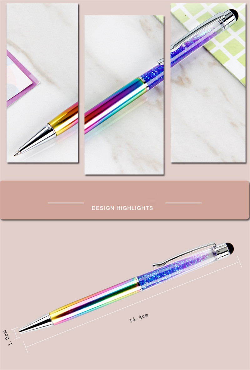 Creative ball pen enterprise LOGO customized crystal flash powder quicksand pen business office stationery metal pen