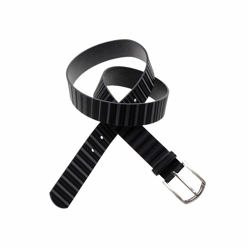 custom logo alloy buckle black stripe pattern durable leather belts