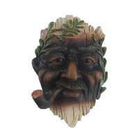 Tree Face Hand-painted Outdoor Old Man Tree Hugger Sculpture with A Tobacco Pipe in Mouth for Yard Decorations and Home Decor