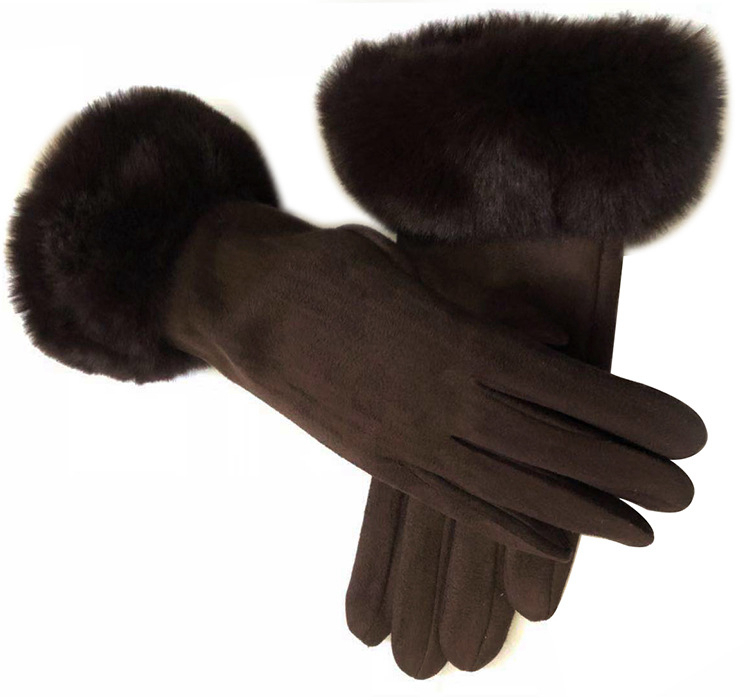 Winter Female Wool Gloves Warmth Cashmere Suede Fabric Warm Thicken Plush Wrist Winter Gloves Women Driving Mittens