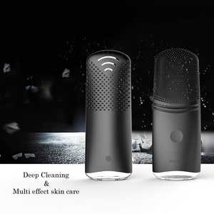 2019 Electric Sonic Silicone facial cleansing brush EMS warm vibrating Face cleaner Skin care device
