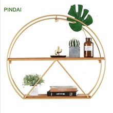 Half Round Metal Frame Modern Home Living Room Hanging Wall Book Storage <strong>Shelf</strong>