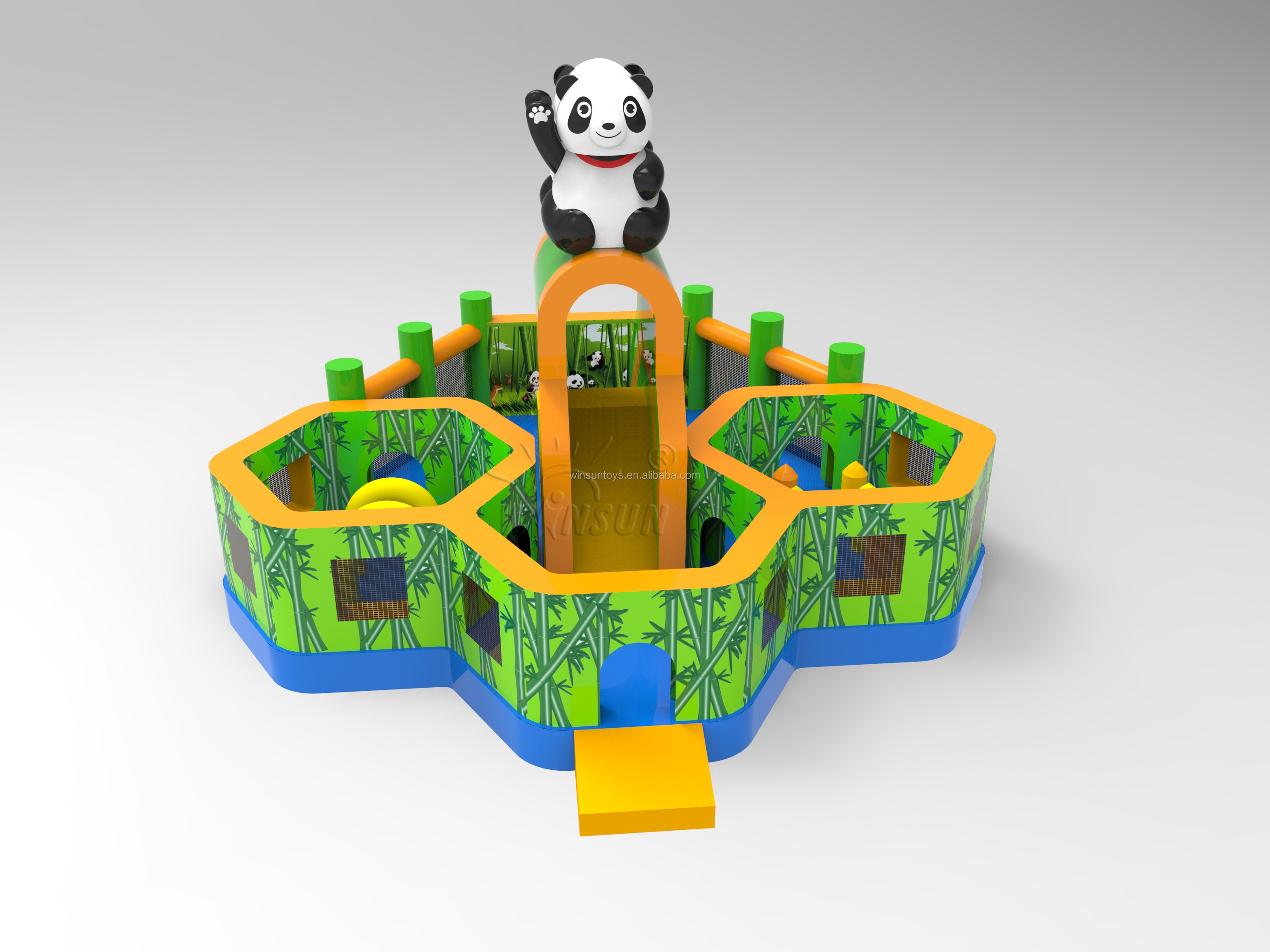 2019 New giant panda inflatable playground, panda inflatable bouncy castle for kids