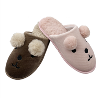 cute animal fur ears warm rabbit fur insole indoor winter slippers for women