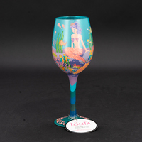 high quality hand painted character colored glass wine goblet wedding