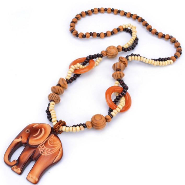 Women Boho Style Ethnic Handmade Bead Wood Pendant Long Necklace Sweater Chain Jewelry Gift